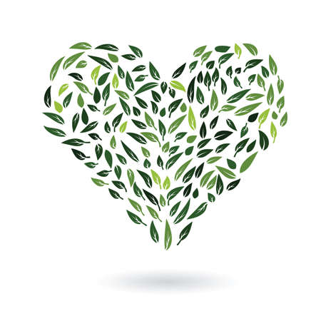 environment protection: abstract heart symbol from green leaves environment protection eco concept vector illustration