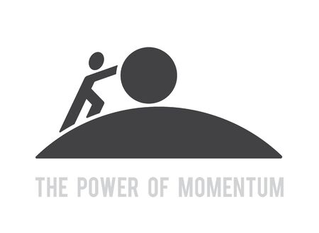 man pushing big ball up hill symbol power of momentum concept reach the target