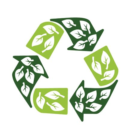 recycling sign: recycling sign with leaves symbol eco protection concept vector illustration