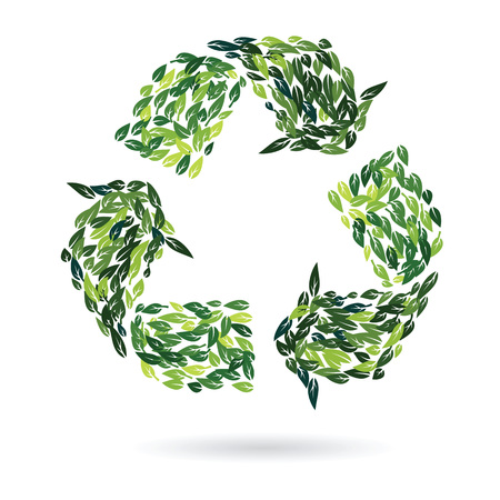 recycling sign: recycling sign from green summer leaves as environment protection concept vector design illustration
