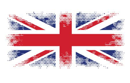 britain flag: great britain flag halftone abstract vector illustration Illustration