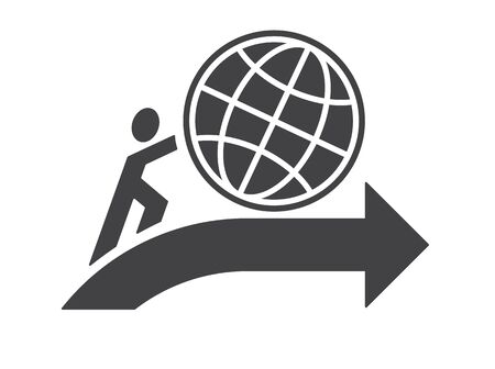 earth moving: abstract human symbol pushing earth up as moving progress ahead concept vector illustration isolated on white