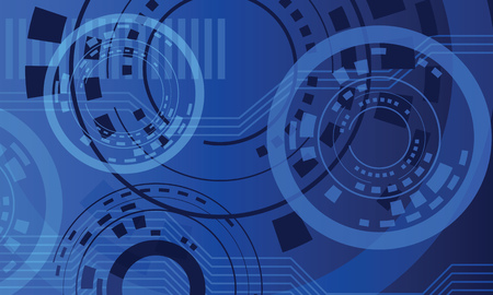 blue circles: abstract circles technical blue dark vector background Illustration