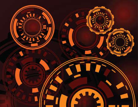 dark red: abstract dark red orange gears technology background vector illustration Illustration