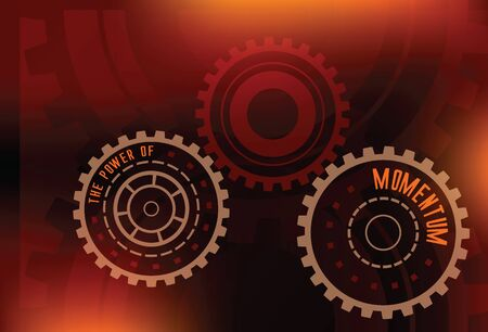 information technology law: abstract gears with letters the power of momentum technical futuristic red and orange dark colors vector background