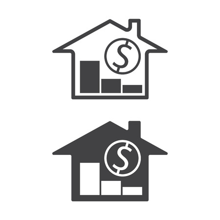 home value: home, money symbols with trend down real estate property price decrease vector illustration