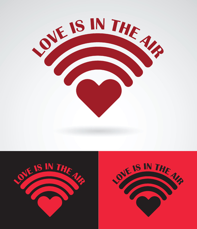 wireless connection: heart symbol as wireless connection with love is in the air slogan love concept vector design illustration Illustration