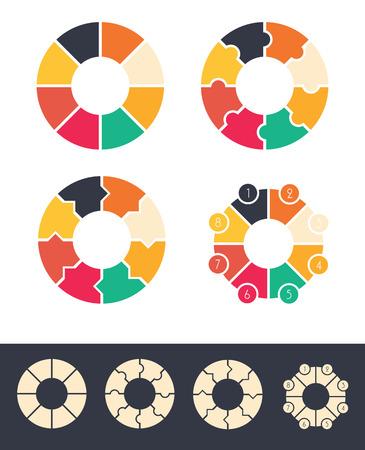 ciclos: 8 pasos para el grupo ciclos círculos de color infografía y diseño de la ilustración del vector monocolor