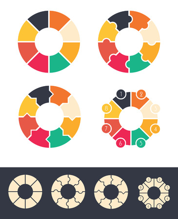 cycles: 8 steps cycles circles for infographic set colored and monocolor vector design illustration
