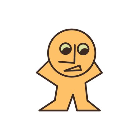 surprised man: funny yellow man simple cartoon character mascot surprised looking down vector design