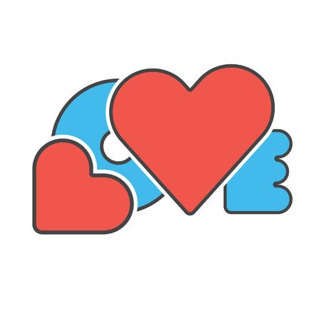 red and blue: red blue color creative design word love with hearts symbol love concept vector illustration Illustration