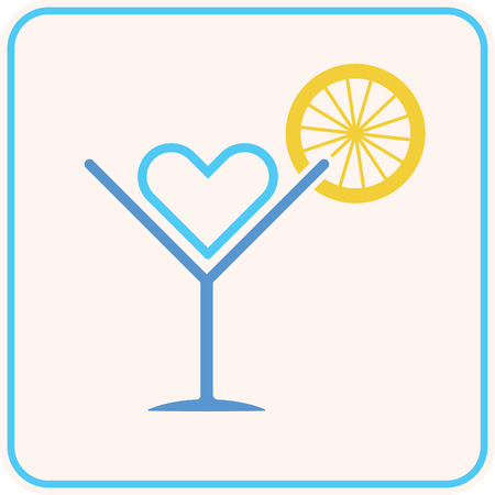holiday party: summer party cocktail lemon heart symbol as love summer holiday and party concept vector illustration