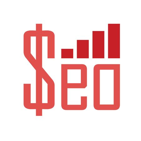 word seo with money sign and growing chart as positive finacial income website optimization