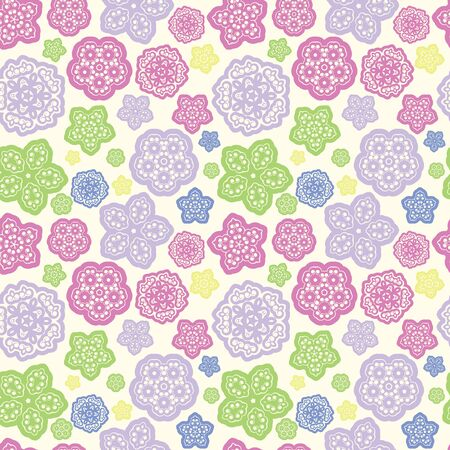 summer meadow: summer meadow color abstract flower seamless pattern background illustration