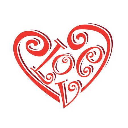 caligraphic: heart symbol text love concept valentines day caligraphic lettering illustration