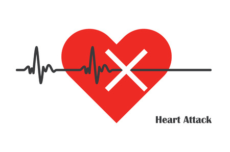 pulse rate stopped with massive heart attack medicine ilustration
