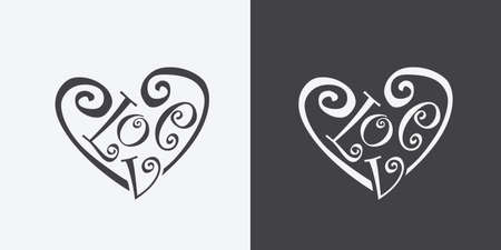 meaning: calligraphic word love meaning of heart symbol illustration grayscale color Illustration