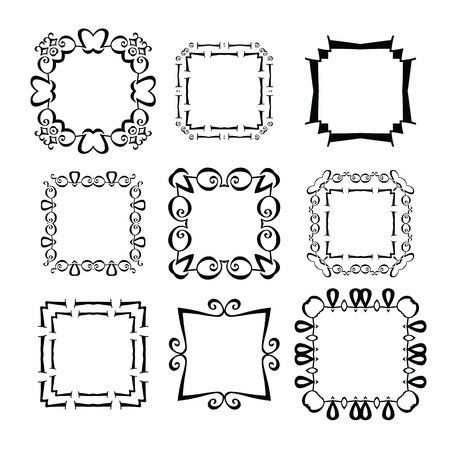 black picture frame: black picture frame set vector illustration