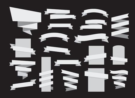 ribbon vector set: ribbon banner grayscale set web design elements vector