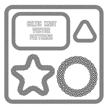 celtic: celtic knot frames star triangle and circle vector patterns