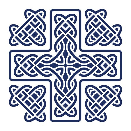celtic symbol: celtic knot cross isolated on white vector illustration Illustration