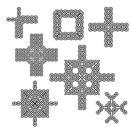 celtic: celtic knot elements borders and crosses vector set Illustration
