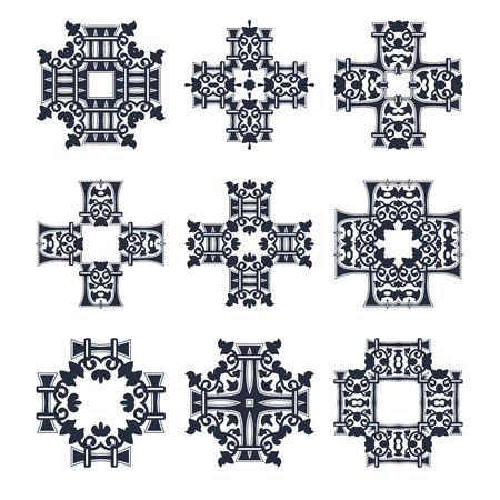 Tribale croce set vettore elemento raccolta Archivio Fotografico - 58617375