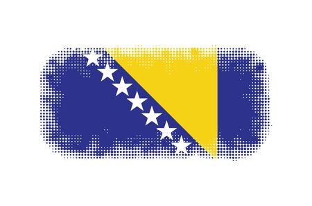 bosnia and herzegovina flag: Bosnia Herzegovina flag symbol halftone vector background illustration