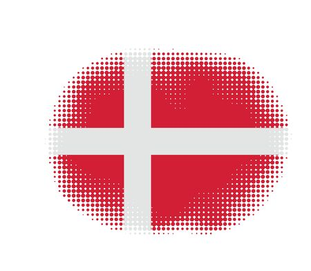 denmark flag: Denmark flag symbol halftone vector background illustration