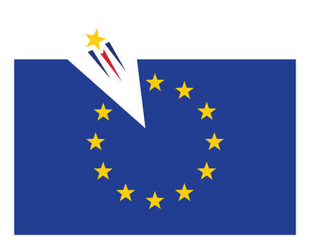 europian: one star flying out from europian union flag vector illustration