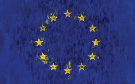 eu flag: eu flag painting vector background illustration Illustration