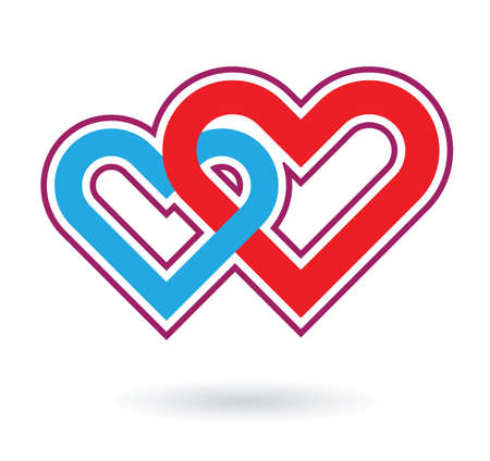 two hearts: two hearts love symbol abstract element
