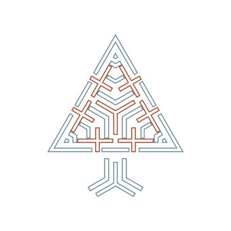 crosses: triangle tree sign with crosses abstract religion symbol  illustration