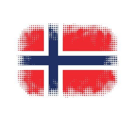 norway flag: Norway flag symbol halftone  background illustration