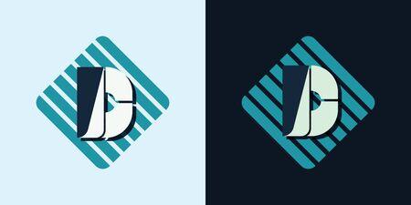 majuscule: letter D company identification logo bright and dark bg vector illustration