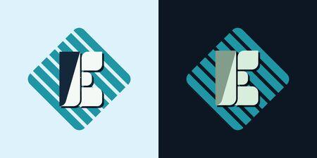 majuscule: letter E company identification logo bright and dark bg vector illustration Illustration