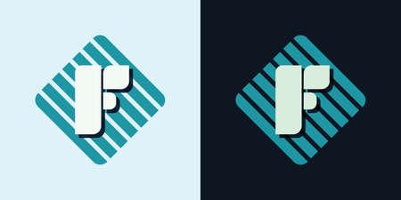 majuscule: letter F company identification logo bright and dark bg vector illustration