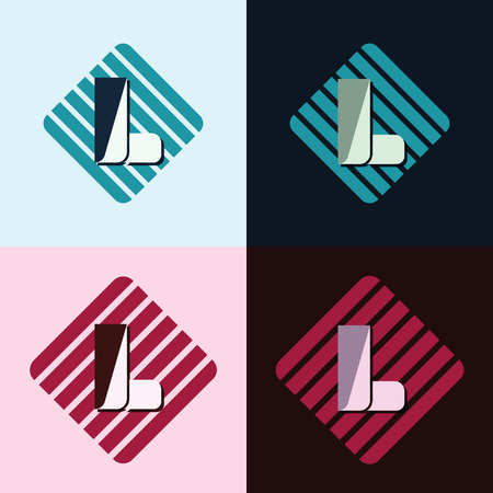 majuscule: letter L company identification logo bright and dark bg vector illustration Illustration