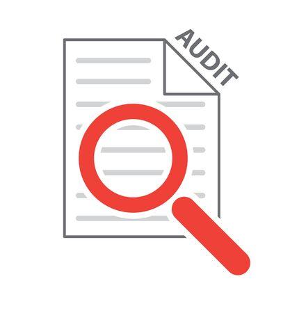 checklist: magnifying glass on checklist as process audit symbol vector illustration