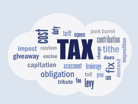 levy: tax related terms and definitions on cloud symbol vector abstract illustration