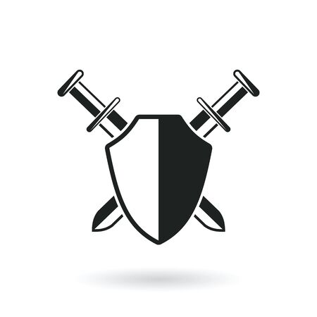 crossed swords: crossed swords with shield protection security  abstract vector illustration isolated on white Illustration