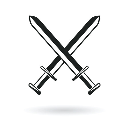 crossed swords arm protection security symbol abstract vector illustration Illustration