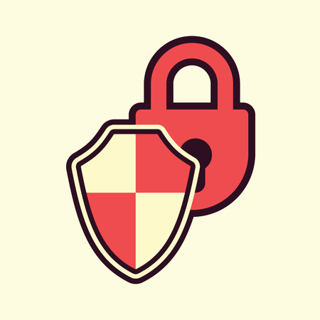 safeguard: padlock shield protection safeguard symbol abstract vector illustration Illustration