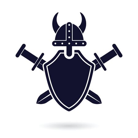 crossed swords: viking shield and crossed swords security protection  abstract vector illustration