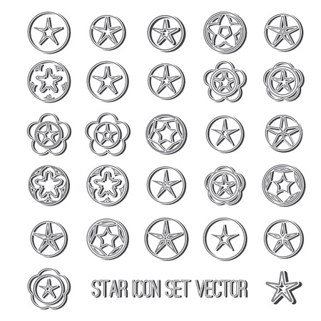 icon vector: dark star icon set on bright background vector illustration