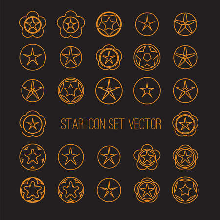 icon vector: outlined bright star icon set on dark background vector illustration
