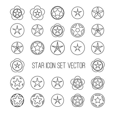icon vector: outline dark star icon set on bright background vector illustration