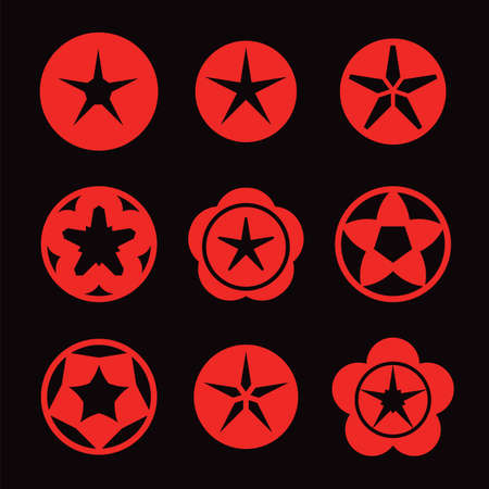 icon vector: red star icon set on dark background vector illustration Illustration