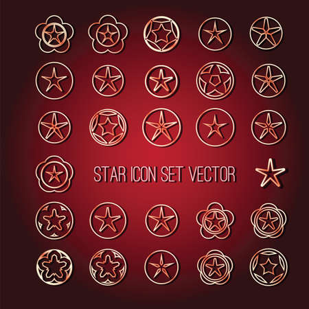 icon vector: bright star icon set on dark red background vector illustration