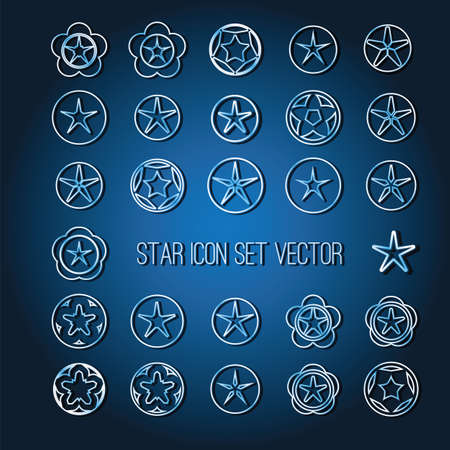 icon vector: bright star icon set on dark blue background vector illustration